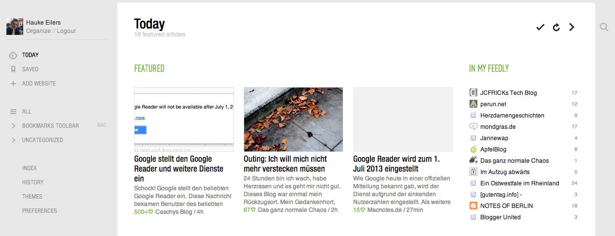 Feedly als Google Reader Alternative