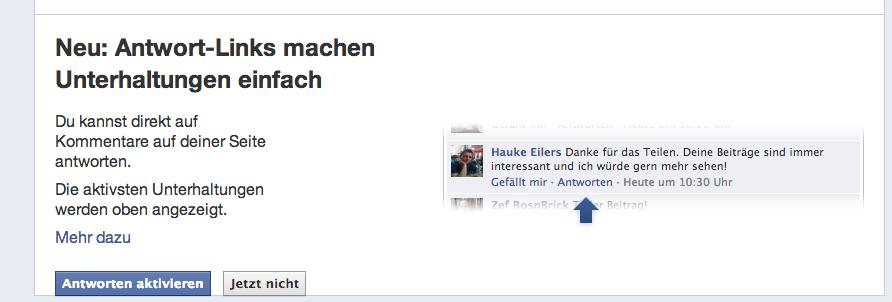 Antworten Funktion Facebook