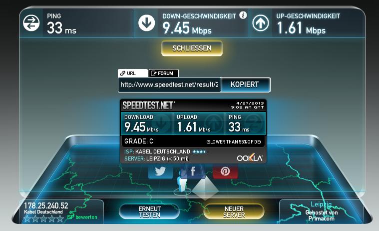 Speedtest Kabel Deutschland