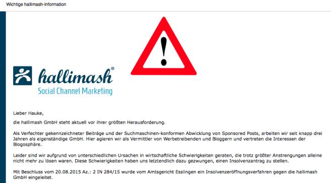 Die Hallimash GmbH ist insolvent.