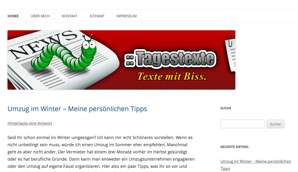 Neues Design bei tagestexte.de