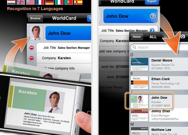 Iphone App Mit World Card Mobile Können Visitenkarten